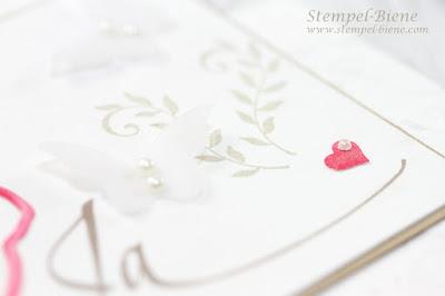 Hochzeitspapeterie; Hochzeitseinladung kirchliche Trauung; Hochzeitseinladungen Rose basteln; Hochzeitskarte Stampin up; Hochzeitsideen Karte; Stempel-Biene; Einladungskarten Hochzeit