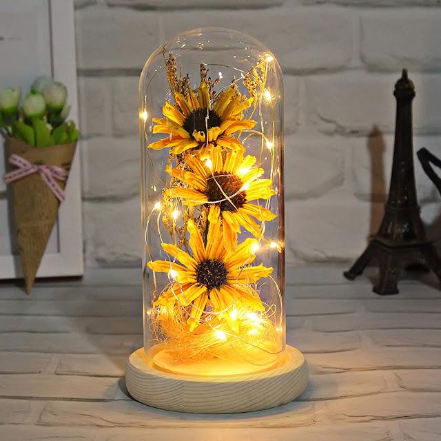 sunflowers in jar decoration glass lights