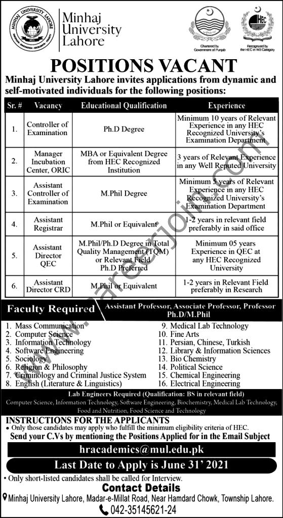 Latest Jobs in Minhaj University Lahore MUL  June 2021