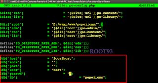 edit file po-config.php menggunakan GNU Nano