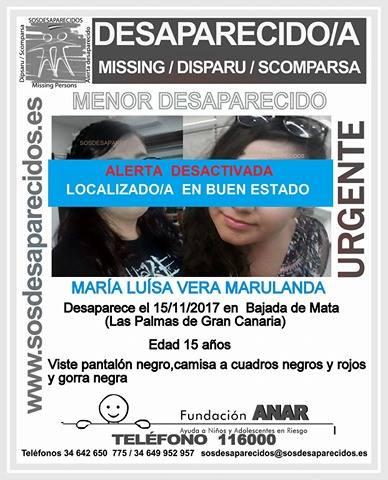 localizada la menor María Luisa Vera, desaparecida en Las Palmas de Gran Canaria, en buen estado