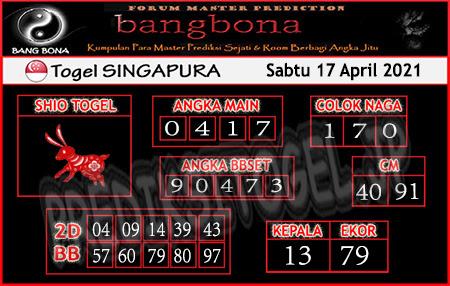 Prediksi Bangbona SGP Sabtu 17 April 2021