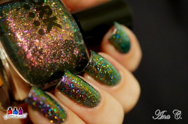 drk nails, bonita, flocado, multicromático