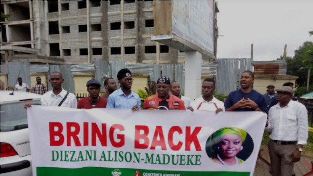 HAPPENING NOW: Charlyboy, others storm EFCC headquarters, demand repatriation of Diezani [PHOTO]