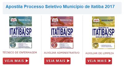 Apostila Prefeitura de Itatiba Processo Seletivo 2017