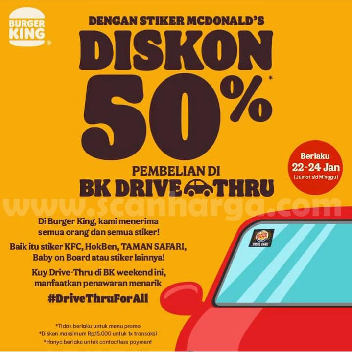 BURGER KING Promo Diskon 50% pembelian Spesial via Drive-Thru