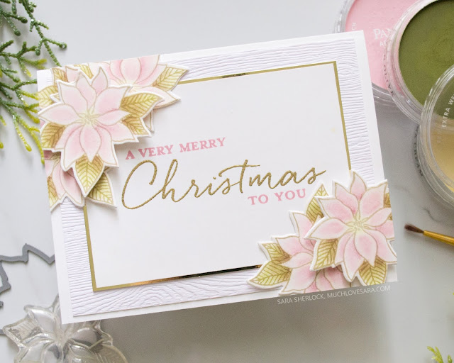 This pretty pink and gold Christmas card, was created using stamps and dies from the Concord & 9th 2019 Holiday Release.  Featuring the Christmas Florals bundle.  For the full details for each card, along with details about where to purchase the supplies used, please visit the blog post.