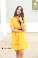 Actress Poojitha Stills in Yellow Short Dress at Darshakudu Movie Teaser Launch .COM 0002.JPG