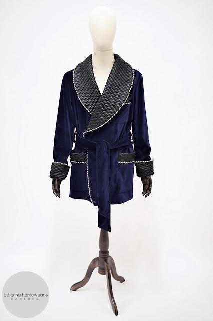 herren samt hausjacke kurzer morgenmantel dunkelblau seide baumwolle warm lang gefüttert gesteppt edel elegant englischer stil