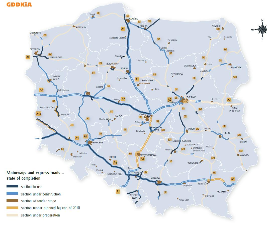 mapa das autoestradas Negócios na Polónia: Mapa auto estradas em construção na Polónia mapa das autoestradas