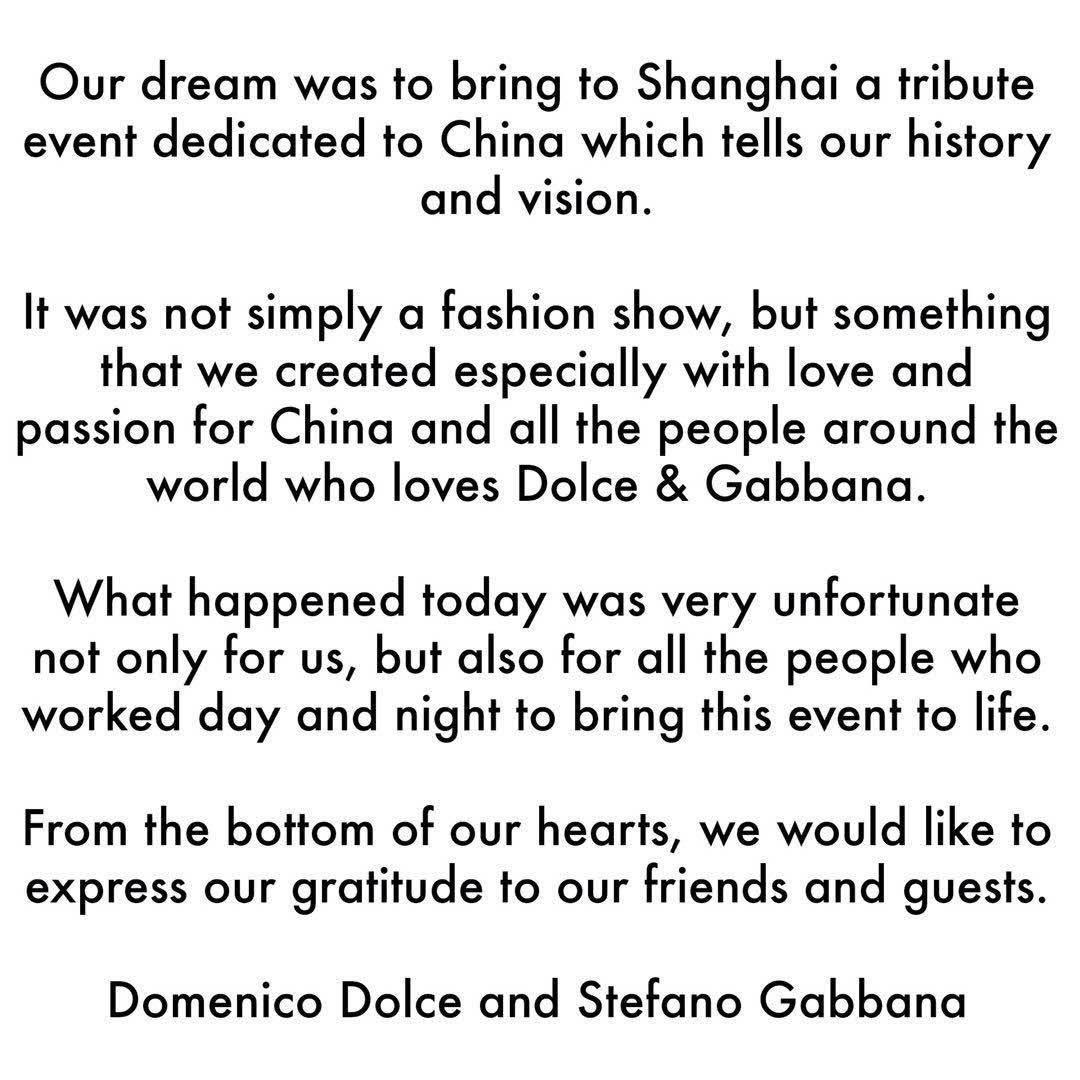 ドメニコ・・ドルチェとステファノ・ガッバーナの人種差別の騒動への謝罪のTwitterの投稿