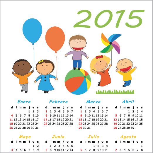 Calendario 2015 en español de niños - vector