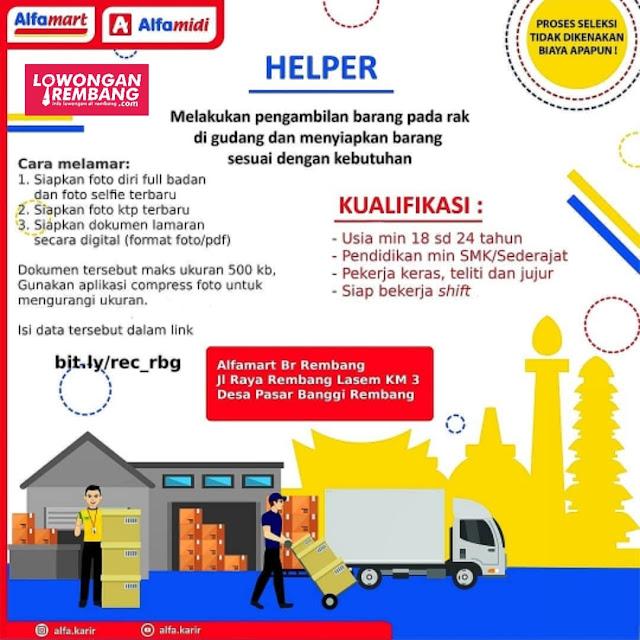 Lowongan Kerja Helper Gudang PT Sumber Alfaria Trijaya Alfamart Rembang