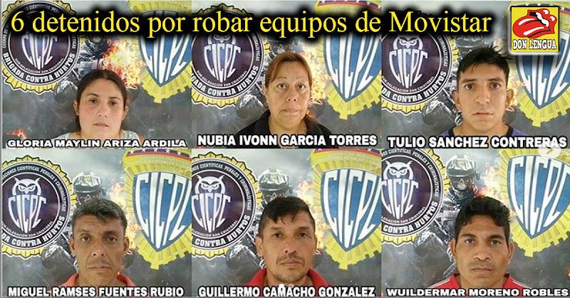 6 detenidos por robar equipos de Movistar en el Táchira