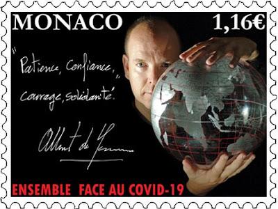Koronavirus aiheinen postimerkki Monaco