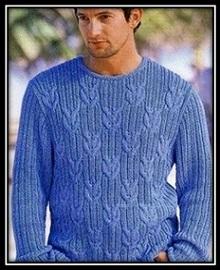 mujskoi pulover spicami s relefnim uzorom