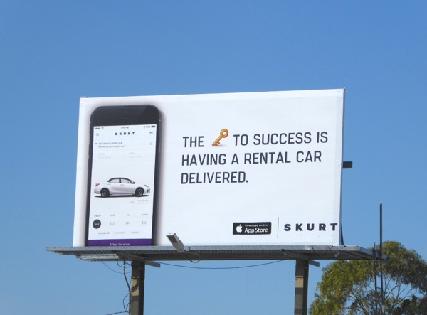 Skurt key to success having rental car delivered billboard