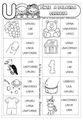 Atividades de alfabetização, Atividades de vogais, Ensino fundamental, Atividades de 1º ano, hipotese silabica, leitura,