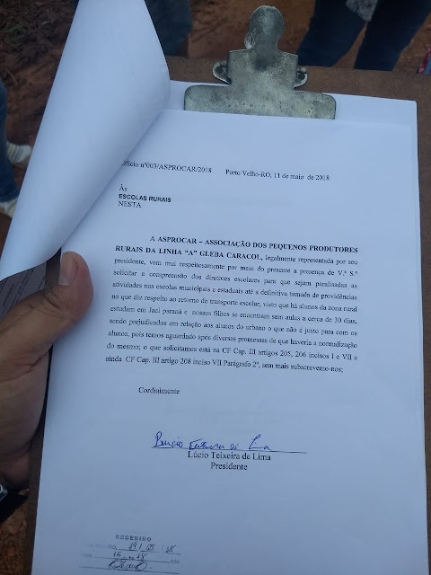 Papel timbrando ministério publico br-364