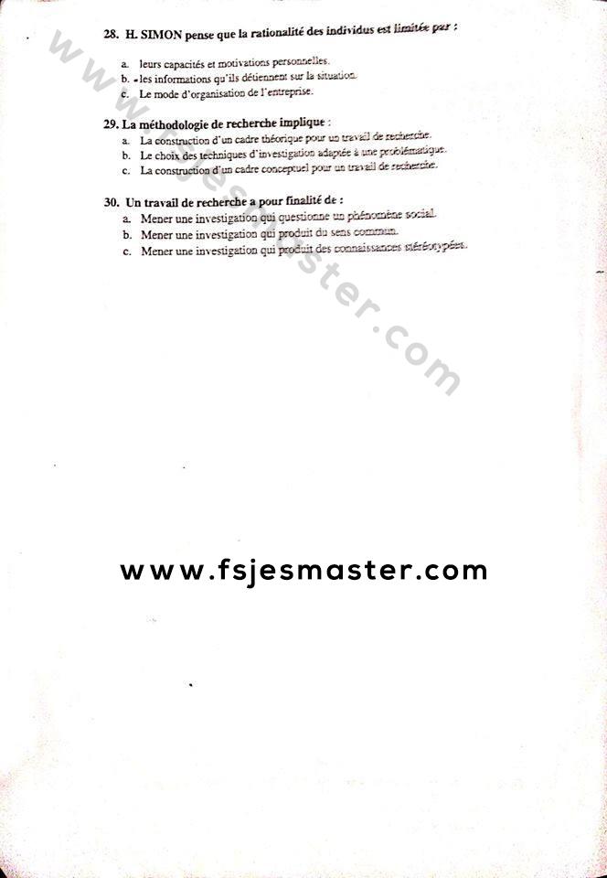 Exemple Concours Master Gestion des Ressources Humaines 2018-2019 - Fsjes Settat