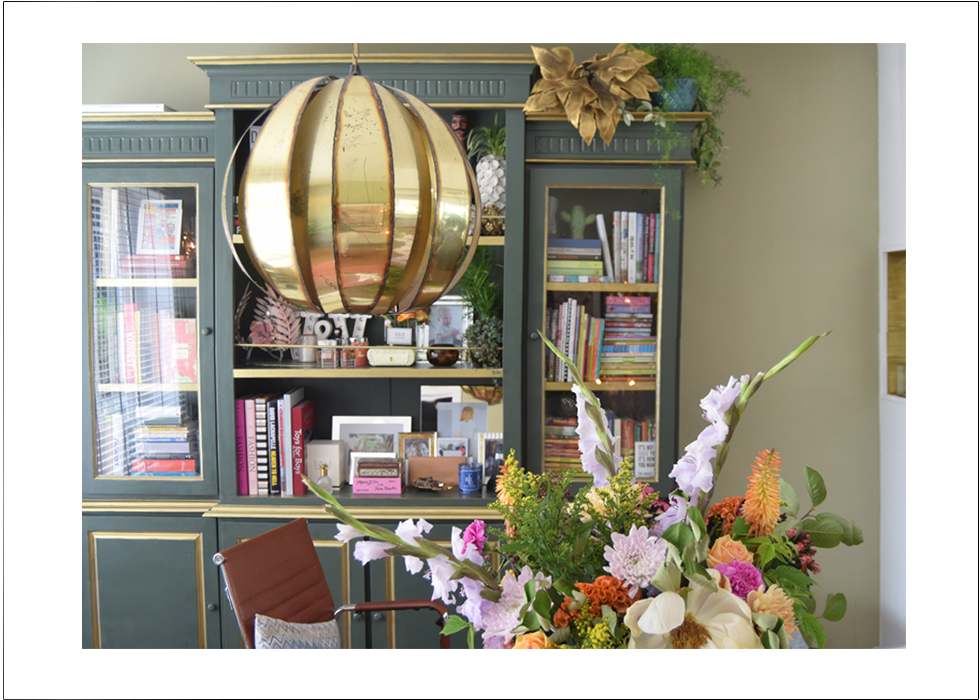 Interior, Farrow&Ball, eclectic, office, home, make-over, paris, maison jansen, palmtree lamp