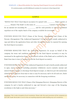 board resolution for opening fixed deposit with bank