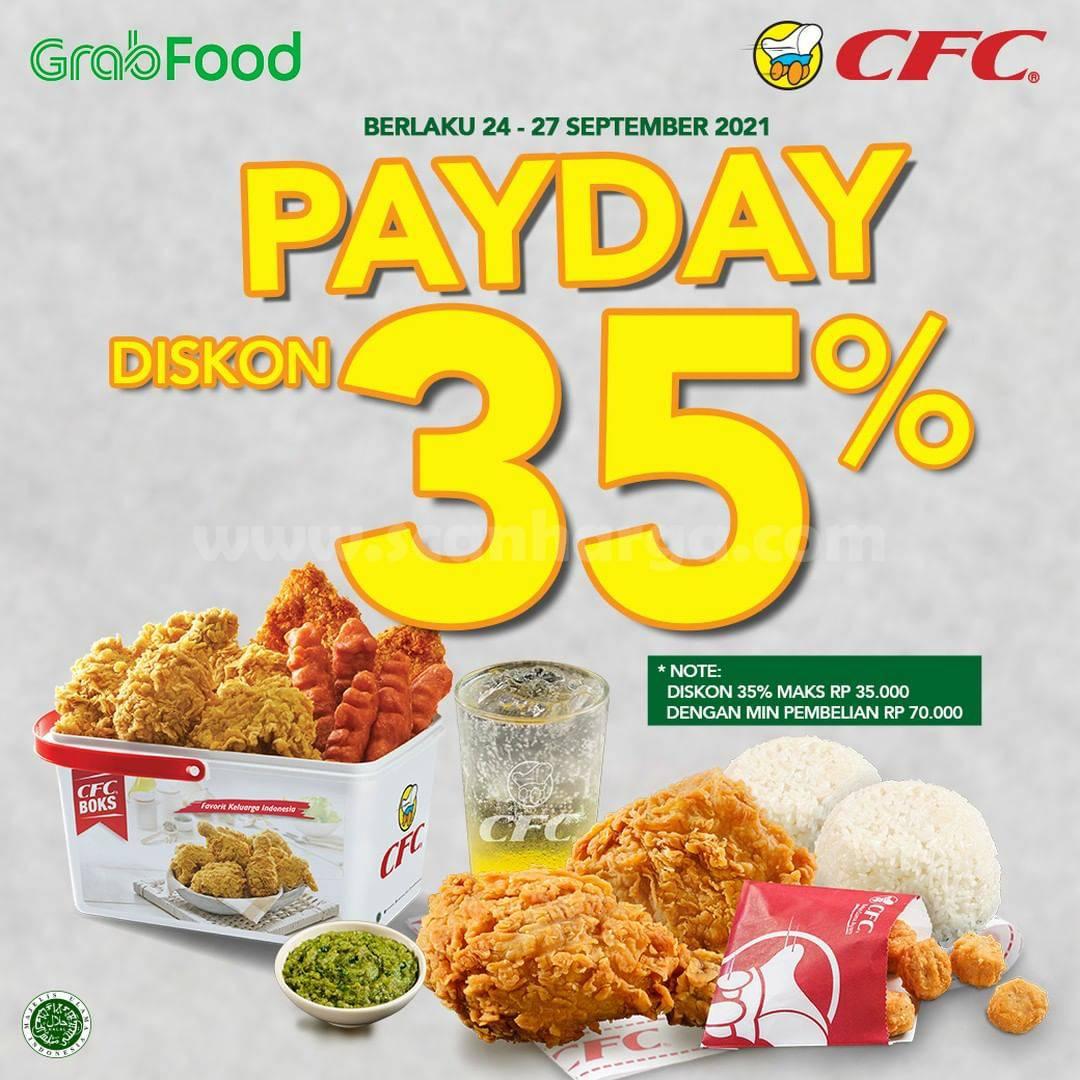 Promo CFC PAYDAY 26-27 September 2021 - DISKON 35% dari GRABFOOD
