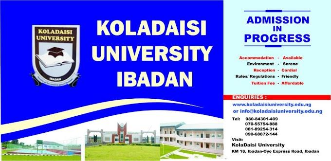 KolaDaisi University (KDU) Post UTME / DE Admission Screening Form for 2019/2020 Academic Session