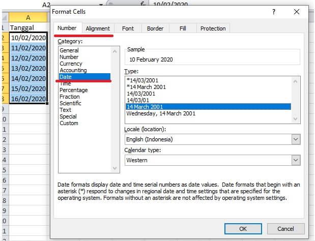 cara format cell data berupa tanggal
