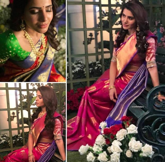 Samantha Akkineni Pink Pattu Saree