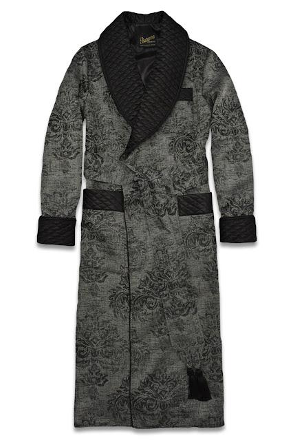 herren hausmantel baumwolle seide schwarz edel elegant morgenmantel dressing gown gesteppt