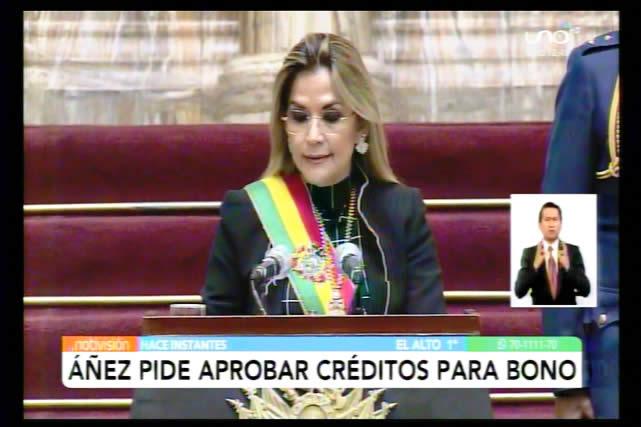 Presidenta Áñez llama al MAS a hacer conciencia y liberar créditos para pagar Bono Salud