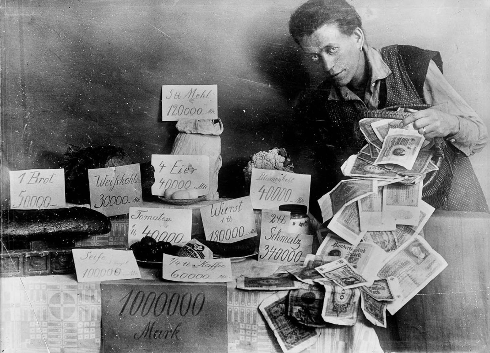 A display of extremely high food prices during hyperinflation.