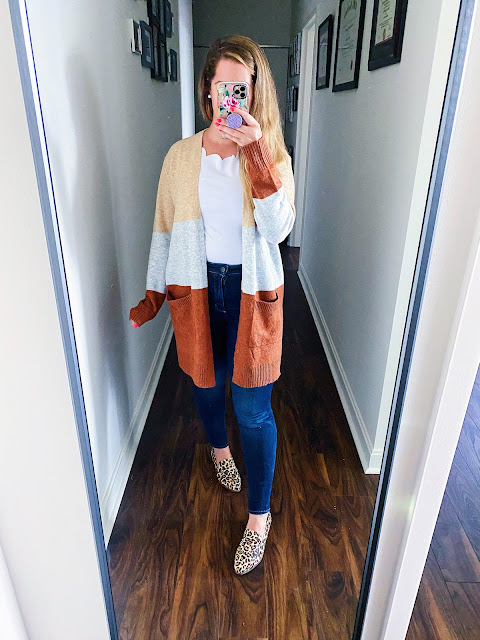 colorblock cardigan outfit work