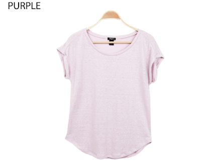 Ann Taylor Boatneck Tee blue light purple