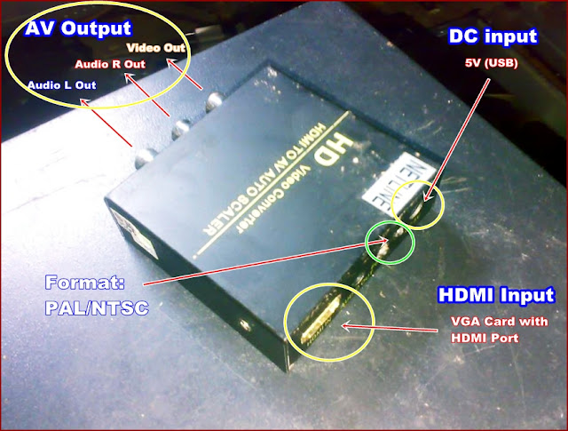 Alat Coverter Video PC (Komputer ke TV / Pemancar TV) - HDMI/VGA ke AV/TV