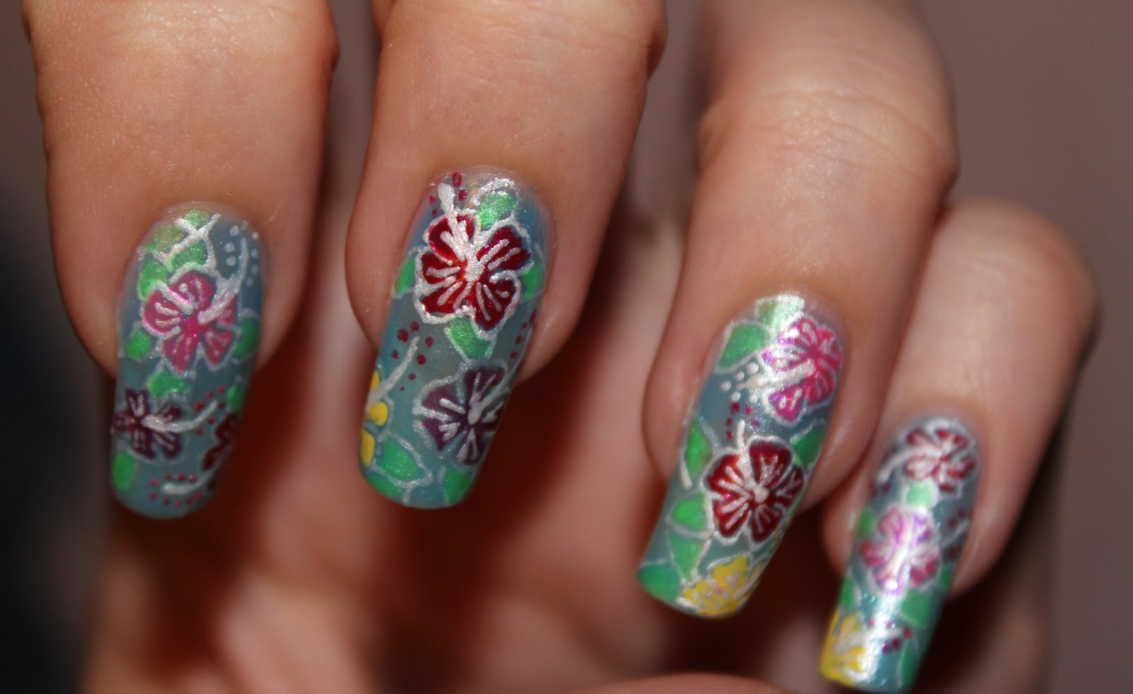 Hawaiian Flower Nail Design | Joy Studio Design Gallery ...