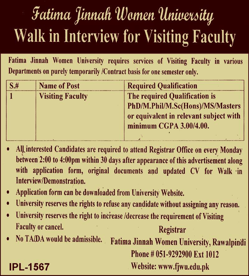 Jobs in Fatima Jinnah Women University FJWU Rawalpindi 2021