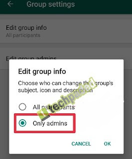 only admins have right to change whatsapp group subject, description and icon