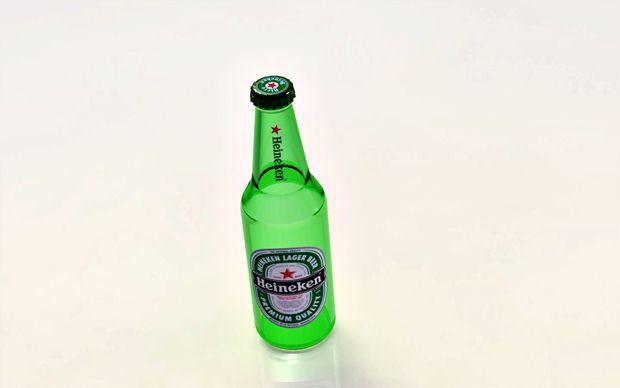 Botella de Heineken vista desde arriba modelada con Solidworks