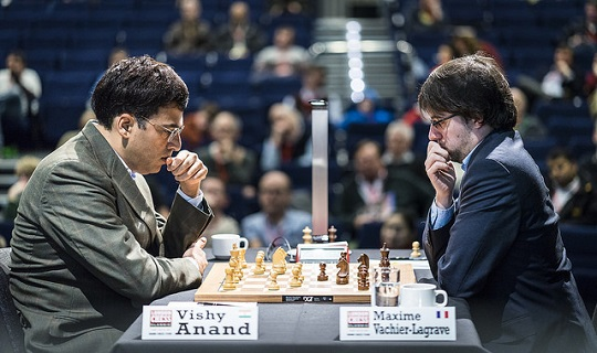 Lors de la ronde 2, Anand a battu Maxime Vachier-Lagrave sur sa Najdorf favorite - Photo © Lennart Ootes