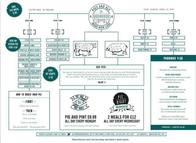 The Redhouse | A Pie & Mash Pub in Newcastle menu