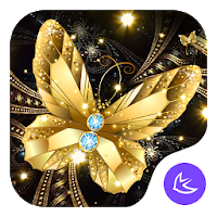 Shine Golden Fantastic Butterfly-APUS Launcher Apk free for Android