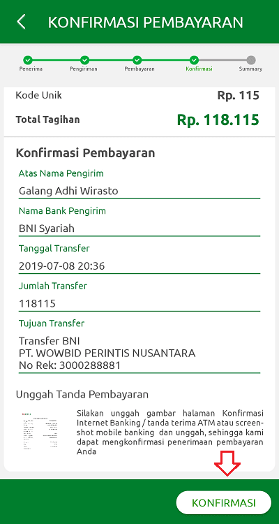 Lakukan konfirmasi pembayaran dengan mengunggah bukti transfer
