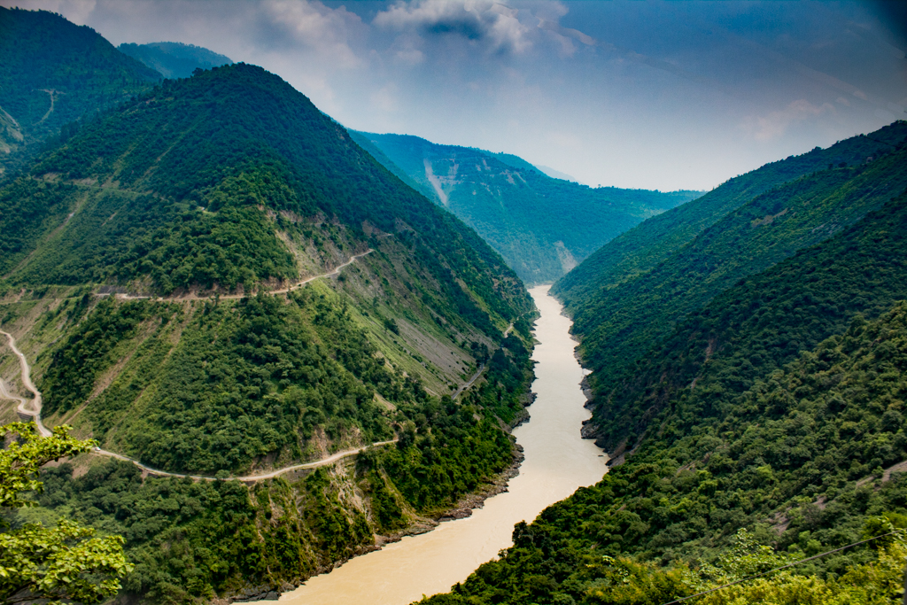 River ganga flowing through valleys of Himalayas in Uttarakhand