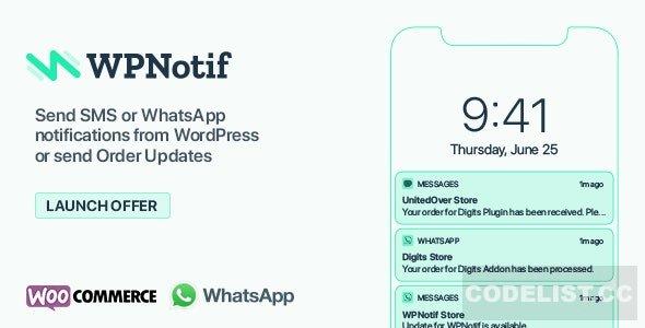 WPNotif v2.1.1.2 - WordPress SMS & WhatsApp Notifications