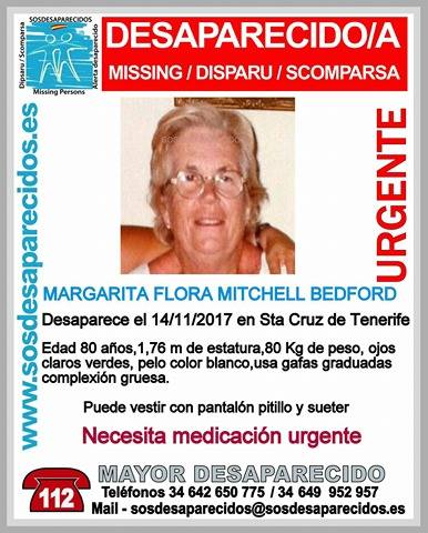Mujer de 80 años desaparecida Santa  Cruz Tenerife necesita medicación   urgente