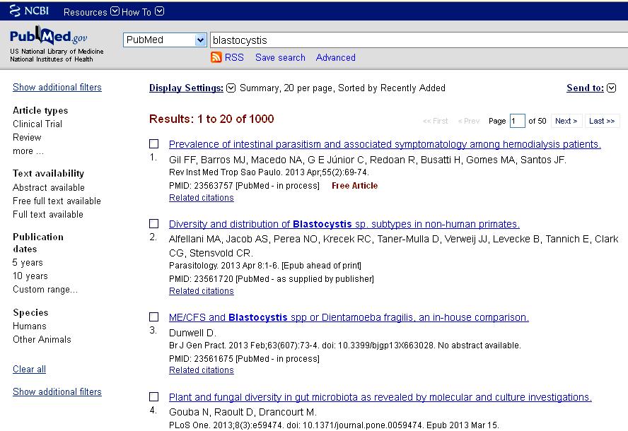 Blastocystis Parasite Blog: PubMed