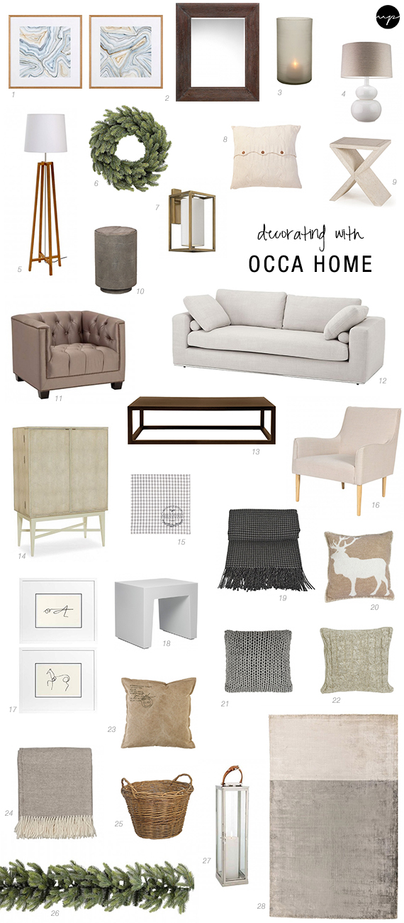 Holidays with OCCA HOME shopping list