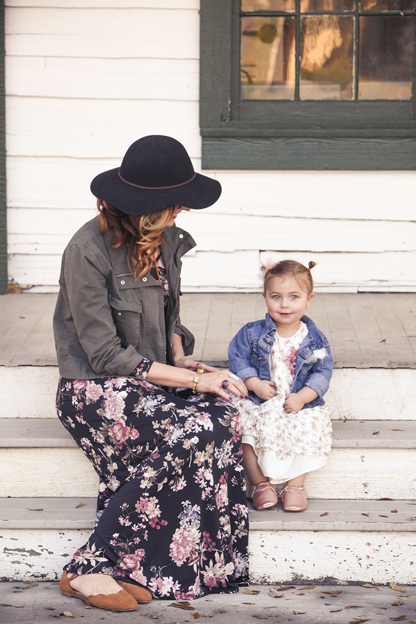 Amy West and daughter London in their spring Florals
